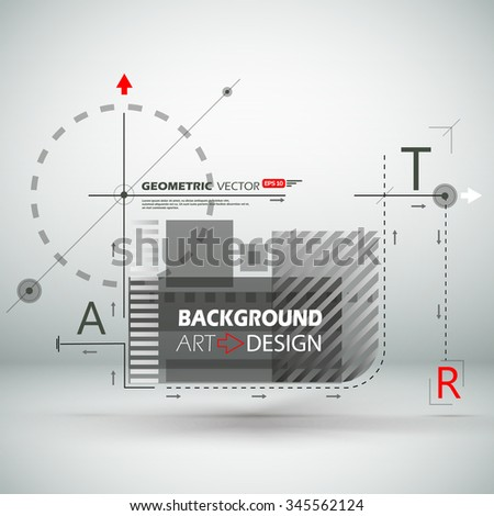 Abstract composition, A, R, T letter, black, white square construction, light static picture, sturtup display, sign texture surface, business backdrop, title sequence, screen saver, EPS10 illustration - stock vector