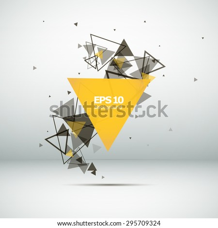 Abstract composition, a tornado of triangles, yellow, background | EPS10 vector illustration - stock vector
