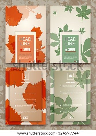 Abstract composition, autumn event card set, leaves theme advertisement collection, sale-out discount certificate, biological icon, botanical print, eco design, ecological EPS 10 vector illustration  - stock vector