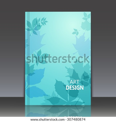 Abstract composition, azure brochure title sheet, natural background, autumn leaves fall, biological print, botanic ornament, ecological design, EPS 10 vector illustration - stock vector