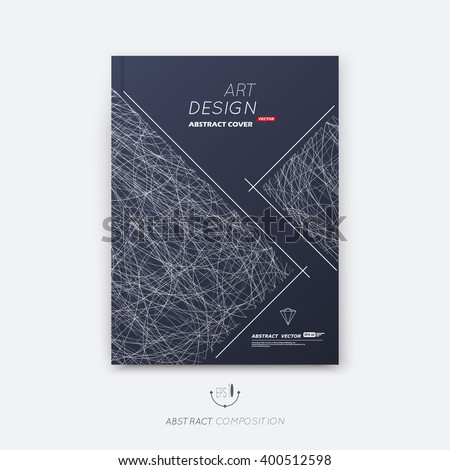 Abstract composition, black font texture, lozenge section trademark, white curve lines construction, brochure title sheet, creative rhombus figure logo icon, commercial offer, banner form, flyer fiber - stock vector