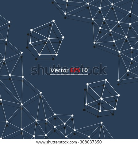 Abstract composition, black space background, stylized galaxy map, cosmic theme, star constellation icon, dots and lines polygon, EPS 10 vector illustration  - stock vector