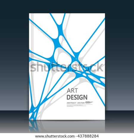 Abstract composition. Blue lines font texture. Interlocking section trademark construction. White a4 brochure title sheet. Creative figure logo icon. Commercial offer banner form. Ad flyer fiber.