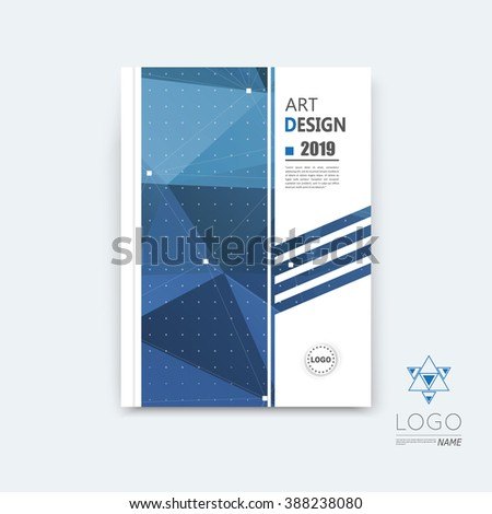 Abstract composition, blue polygonal stripe font texture, square part construction, white a4 brochure title sheet, creative figure icon, commercial logo surface, firm banner form, EPS10 flier fiber - stock vector