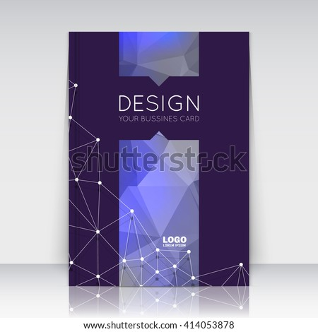 Abstract composition. Blue polygonal triangle construction texture. Cybernetic dots, lines plexus section. Black brochure title sheet. Creative figure logo icon surface. Banner form. Flyer font. - stock vector