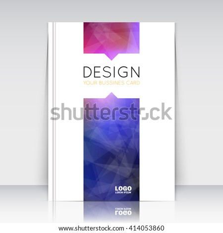 Abstract composition. Blue, purple polygonal texture. Triangle part trademark construction. Lines plexus section. White brochure title sheet. Creative figure icon surface. Banner form. Flyer font. - stock vector