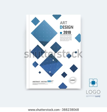 Abstract composition, blue quadrate font texture, square part construction, white a4 brochure title sheet, creative tetragon figure icon, commercial logo surface, firm banner form, EPS10 flier fiber - stock vector