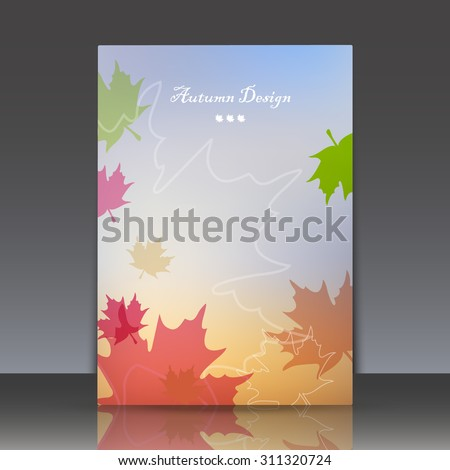 Abstract composition, brochure title sheet, colored leaves fall, autumn events advertisement, seasonal sale flayer, biological carving, eco design, botanical print, EPS 10 vector illustration - stock vector