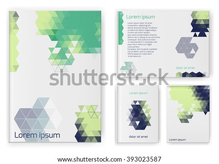 Abstract composition, business card set. A4 design sheet