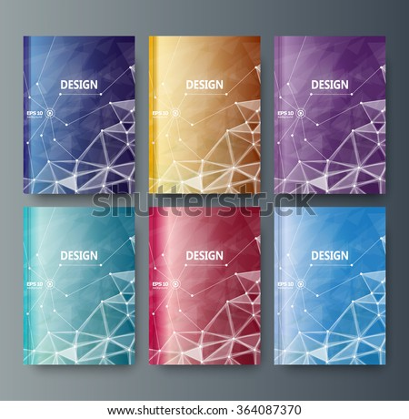 Abstract composition, business card set, correspondence collection, a4 brochure title sheet, blue, red surface, creative text frame, figure logo icon, molecular backdrop, scientific materials, EPS10  - stock vector