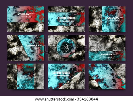 Abstract composition, business card set, correspondence letter collection, brochure title sheet, certificate, diploma, patent, charter, figure framework surface, azure and black backdrop, EPS10 vector - stock vector