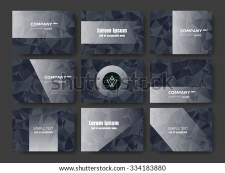 Abstract composition, business card set, correspondence letter collection, brochure title sheet, certificate, diploma, patent, charter, figure framework surface, polygonal black backdrop, EPS10 vector - stock vector