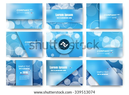 Abstract composition, business visiting card set, blue sea water effect icon collection, ocean air bead, round sky cloud theme, elegant ring backdrop surface, presentation frame, creative EPS10 vector - stock vector