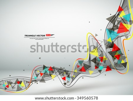 Abstract composition, flying triangle curve line icon, red, yellow, blue figure construction, white backdrop, interlocking band weave, startup screen saver, technological surface, EPS10 illustration - stock vector