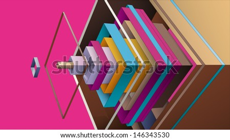 abstract composition from multicolor rhombus for graphic design - stock vector