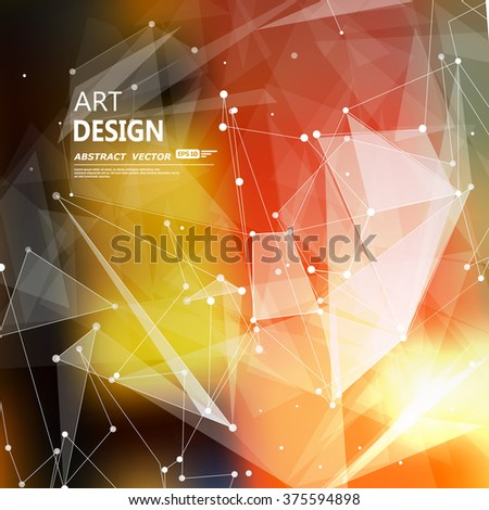 Abstract composition, futuristic technology, orange font texture, white cybernetic dots, creative banner figure, wallpaper, outer space flyer fiber, neon star light matrix, EPS10 backdrop, vector art - stock vector