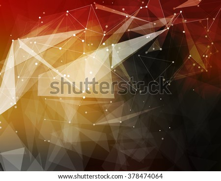 Abstract composition, futuristic technology, yellow font texture, white cybernetic dots, creative banner figure, wallpaper, outer space flyer fiber, neon star light matrix, EPS10 backdrop, vector art  - stock vector