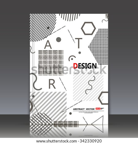 Abstract composition, geometric objects texture, figure and letter font, black and white icons construction, a4 brochure title sheet, light backdrop, business card surface, modern fiber texture, EPS10 - stock vector