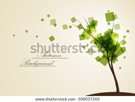 Abstract composition, geometric shapes print, green leaves theme, leaflet background, autumn events flyer, natural print, eco design, botanic pattern, september tree icon, EPS 10 vector illustration - stock vector