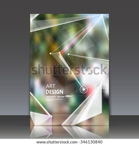 Abstract composition, green leaves theme, natural foliage surface, polygonal triangle construction, line connecting, firm sign backdrop, brochure title sheet, company business card, EPS10 illustration - stock vector