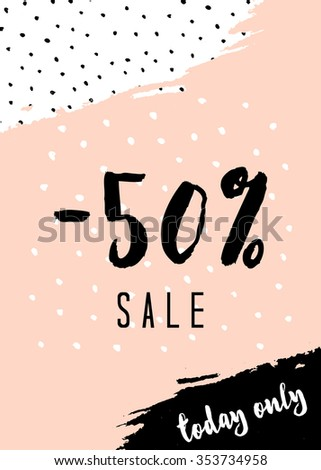 Abstract composition in pastel pink, white, and black. Modern design sale poster, flyer, brochure design. - stock vector