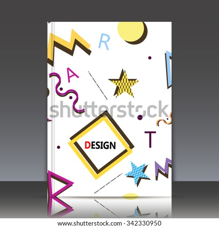 Abstract composition, kid paint objects texture, figure and letter font, yellow, blue pink icons construction, a4 brochure title sheet, white backdrop, business card surface, modern light fiber, EPS10 - stock vector