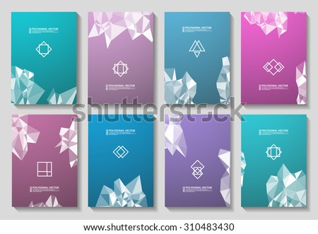 Abstract composition, logo template set, space background, brochure first page, colored 3d triangle puzzle, mosaic pattern, patchwork inlay, business paper blank, EPS 10 vector illustration  - stock vector