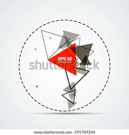 Abstract composition of a circle with a triangle, red, background | EPS10 vector illustration - stock vector