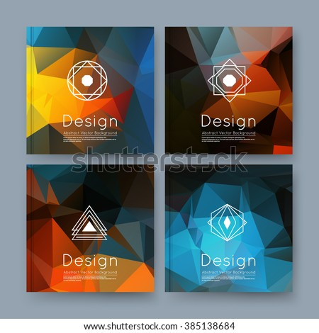Abstract composition, orange, blue business card set, info text, elegant geometric font texture, brochure title sheet, creative figure icon, amber crystal facets, sale flyer fiber, EPS10 banner form - stock vector