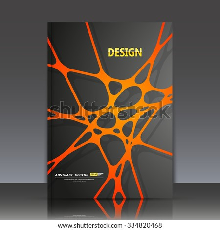 Abstract composition, orange line and dot cross interlacement, rays plexus, a4 business brochure title sheet, tangled backdrop surface, creative web icon, figure intersection points form, EPS10 vector - stock vector