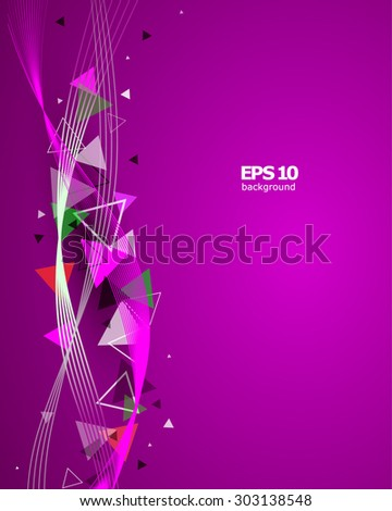 Abstract composition, pink waves, brochure, background pattern, EPS 10 vector illustration - stock vector
