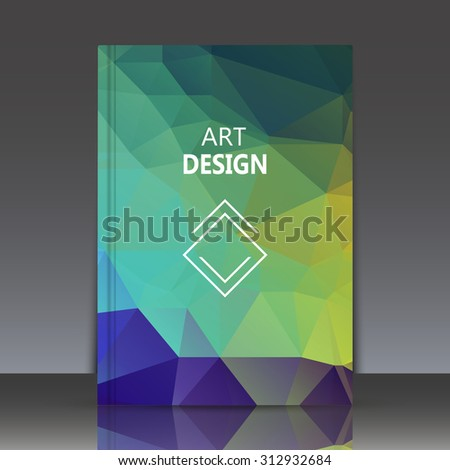 Abstract composition, polygonal background, geometric shapes connecting, brochure title sheet backdrop, lozenge blocks logo construction, rainbow color, crystal face shine, EPS 10 vector illustration - stock vector