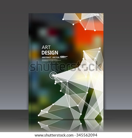 Abstract composition, polygonal construction, connecting dots and lines, a4 brochure title sheet, space background, light rays surface, movement backdrop, EPS 10 vector illustration - stock vector