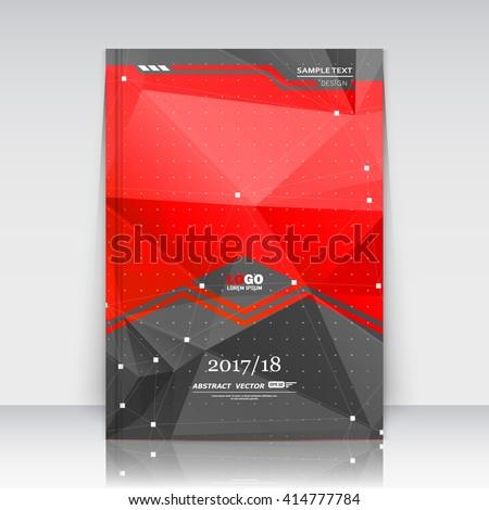 Abstract composition. Red, black font texture. Perforated dot construction. White square block. A4 brochure title sheet. Creative figure icon. Commercial logo surface. Pointed banner form. Flier fiber - stock vector