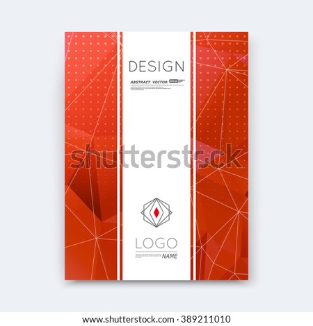 Abstract composition, red polygonal stripe font texture, band part construction, white a4 brochure title sheet, creative figure icon, commercial logo surface, firm banner form, EPS 10 flier fiber - stock vector
