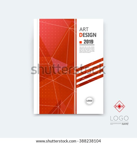 Abstract composition, red polygonal stripe font texture, square part construction, white a4 brochure title sheet, creative figure icon, commercial logo surface, firm banner form, EPS10 flier fiber - stock vector