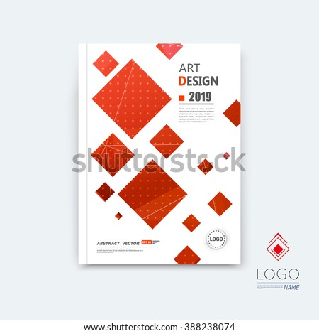Abstract composition, red quadrate font texture, square part construction, white a4 brochure title sheet, creative tetragon figure icon, commercial logo surface, firm banner form, EPS10 flier fiber - stock vector
