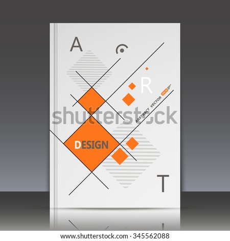 Abstract composition,rhombus texture, orange square blocks connecting, quadrate box construction, a4 brochure title sheet, gray backdrop, business card surface, modern light fiber, EPS10 illustration - stock vector