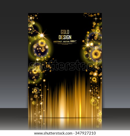Abstract composition, shiny galaxy flare, visual light bubbles flash, golden circle radiance icon, effulgence figure logo construction, glory a4 brochure title sheet, luster sheen, EPS10 illustration - stock vector