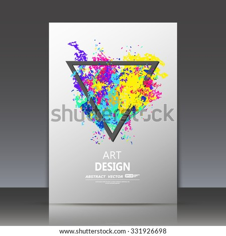 Abstract composition, spotted blot structure, smeary oil paint blur, sloppy surface backdrop, soiled brochure title sheet, splotchy rainbow color triangle icon, fashionable fiber texture, EPS10 vector - stock vector