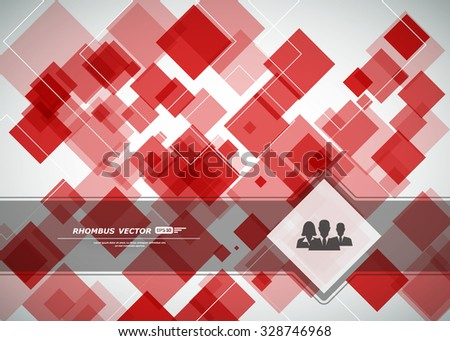 Abstract composition, square blocks surface, flying lozenge construction, commercial people icon, business backdrop, rhombus firm sign, ruby texture, rubine glass surface, EPS 10 vector illustration   - stock vector