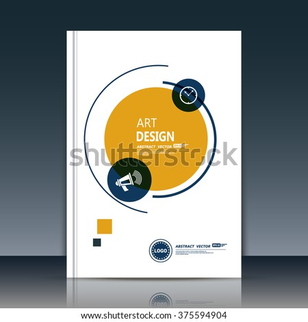 Abstract composition, text frame surface, a4 brochure issue, white title sheet, creative figure, round logo construction, banner form, yellow, black circle icon, curve line flyer fiber, EPS10 backdrop - stock vector