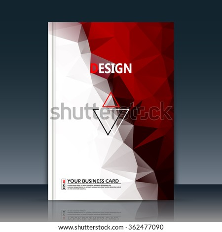 Abstract composition, text frame surface, red, white polygonal a4 brochure title sheet, creative figure logo sign, trademark flag, firm name emblem, slug banner form, flier fashion, EPS10 illustration - stock vector