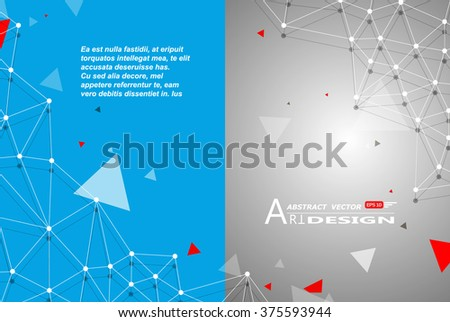 Abstract composition, text frame surface, white, blue title sheet, a4 brochure issue, creative figure, polygonal triangle con, logo construction, banner form texture, flyer fiber, EPS10 backdrop set - stock vector