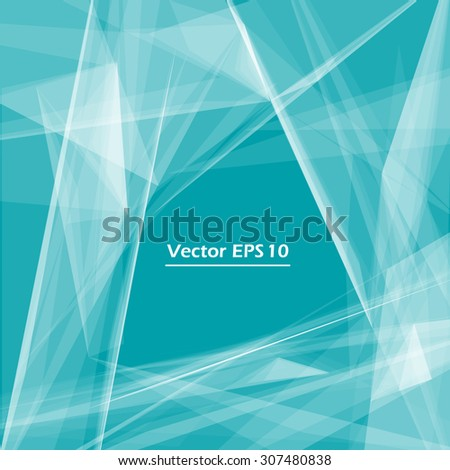 Abstract composition, turquoise background, triangle and lines, light rays, EPS 10 vector illustration - stock vector