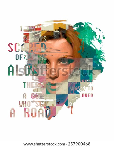 Abstract composition with a text and girls face - stock vector