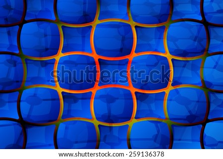Abstract composition with blue cell tiles - stock vector