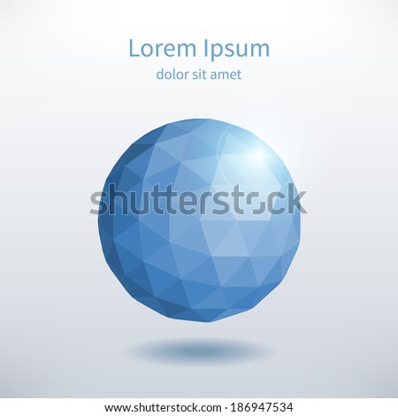 Abstract Composition with Polygonal Sphere. Eps Vector Template.