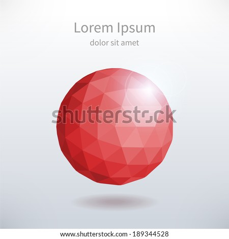 Abstract composition with polygonal sphere. Eps vector template. - stock vector