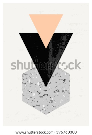 Abstract composition with textured geometric shapes in black, gray and pastel pink. Minimalist and modern poster, brochure, card design. - stock vector